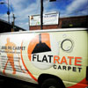 Flat Rate Carpet truck in front of the warehouse in Brooklyn